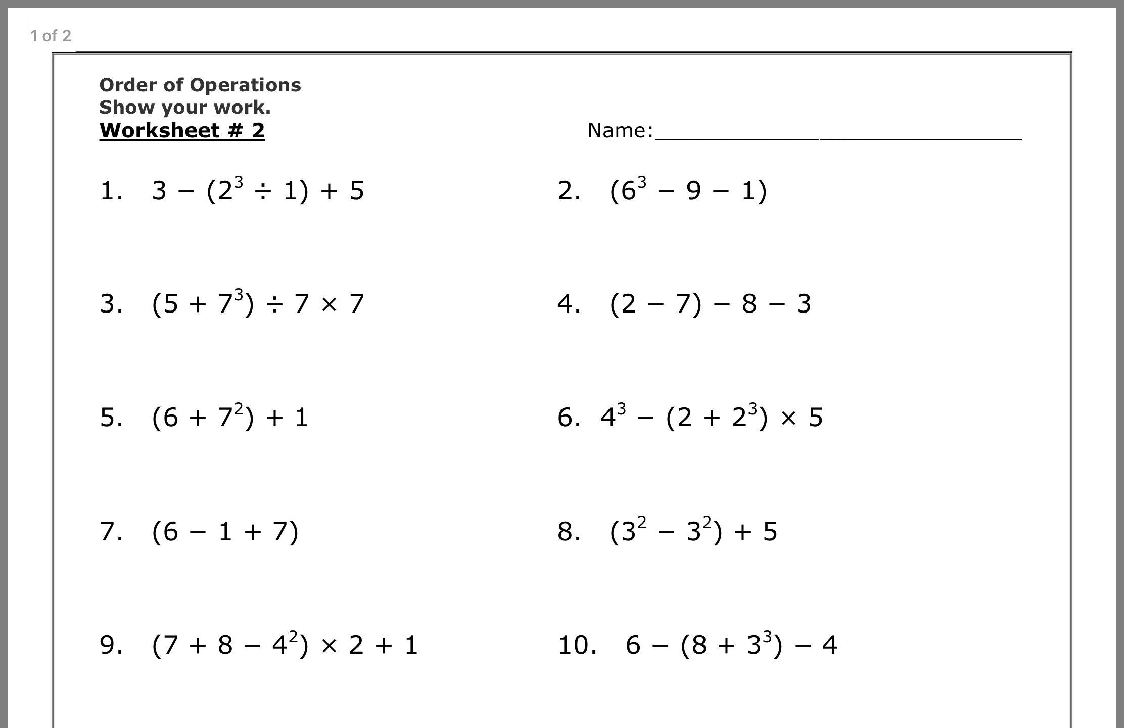 Math Worksheets Order Of Operations With Exponents