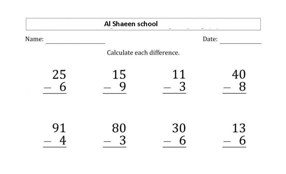 Math Worksheets Subtraction With Regrouping 2 Digits