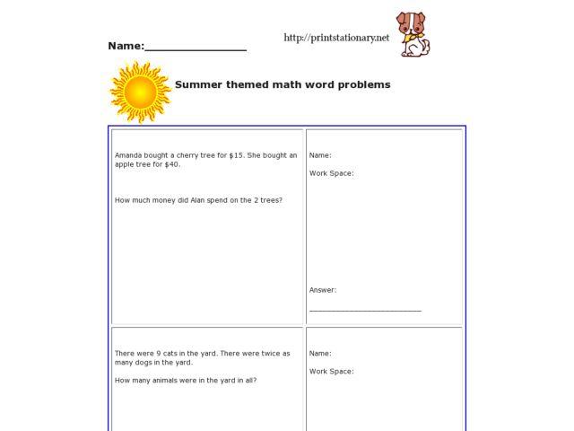 4th Grade Math Worksheets Multiplication And Division Word Problems