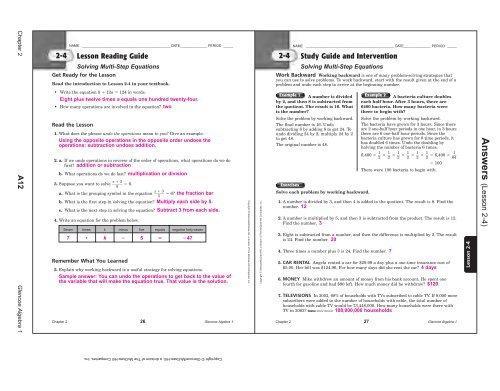 Algebra 1 8.2 Worksheet Answer Key