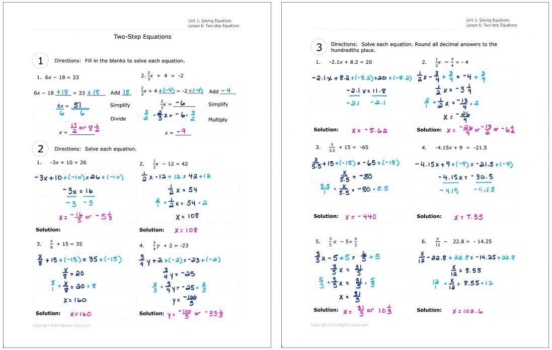 Algebra 1 Worksheets And Answer Key 1