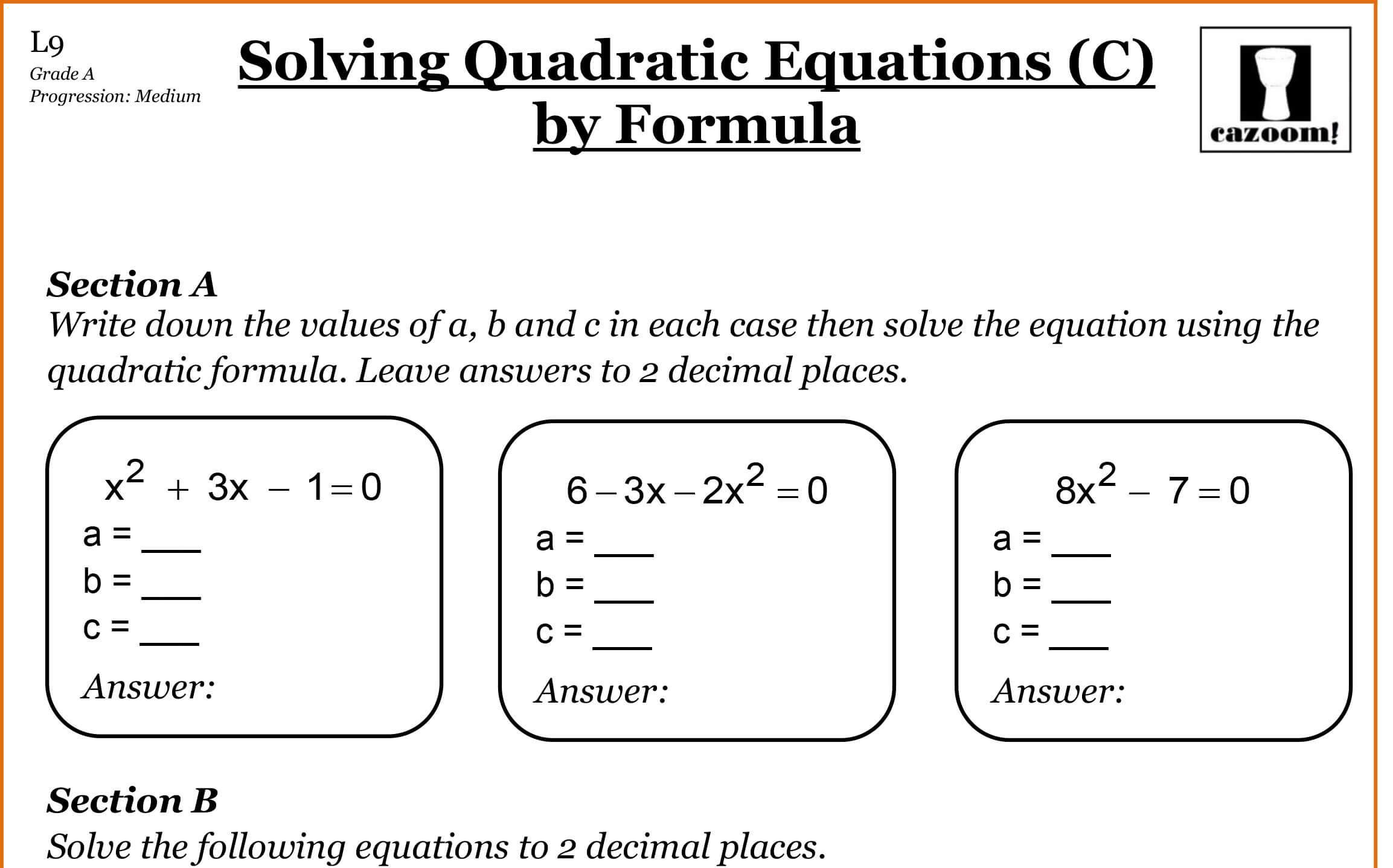 Algebra Activity Worksheets 1