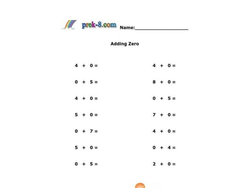 Math Worksheets Addition With Zero 1
