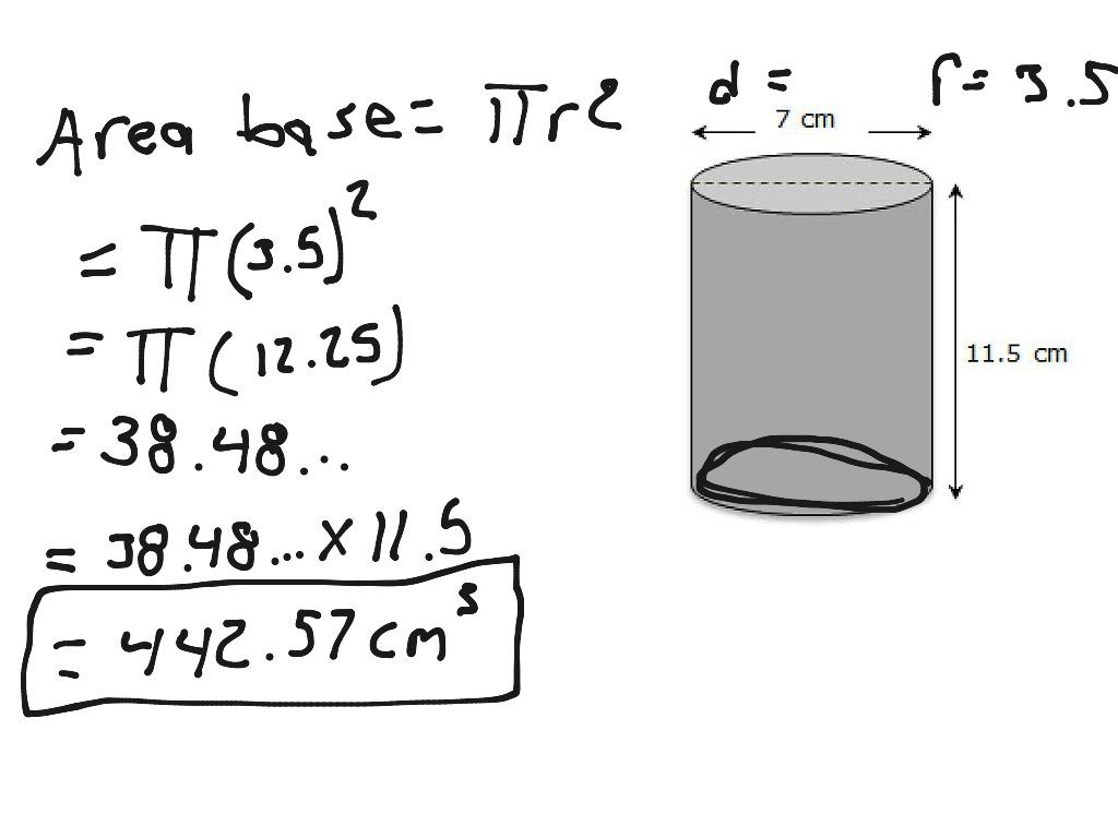 Math Worksheets Volume Of A Cylinder 4