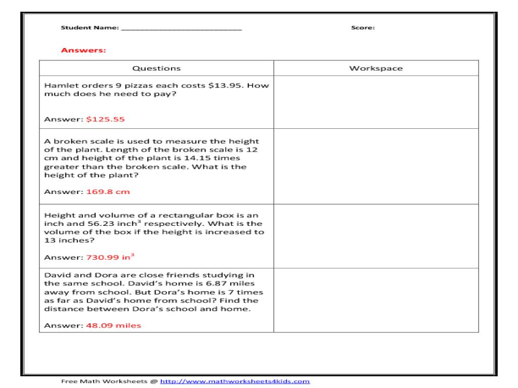 Math Worksheets Word Document 4