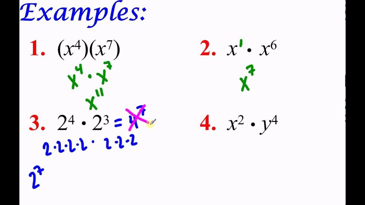 Algebra 1 Worksheets Exponents