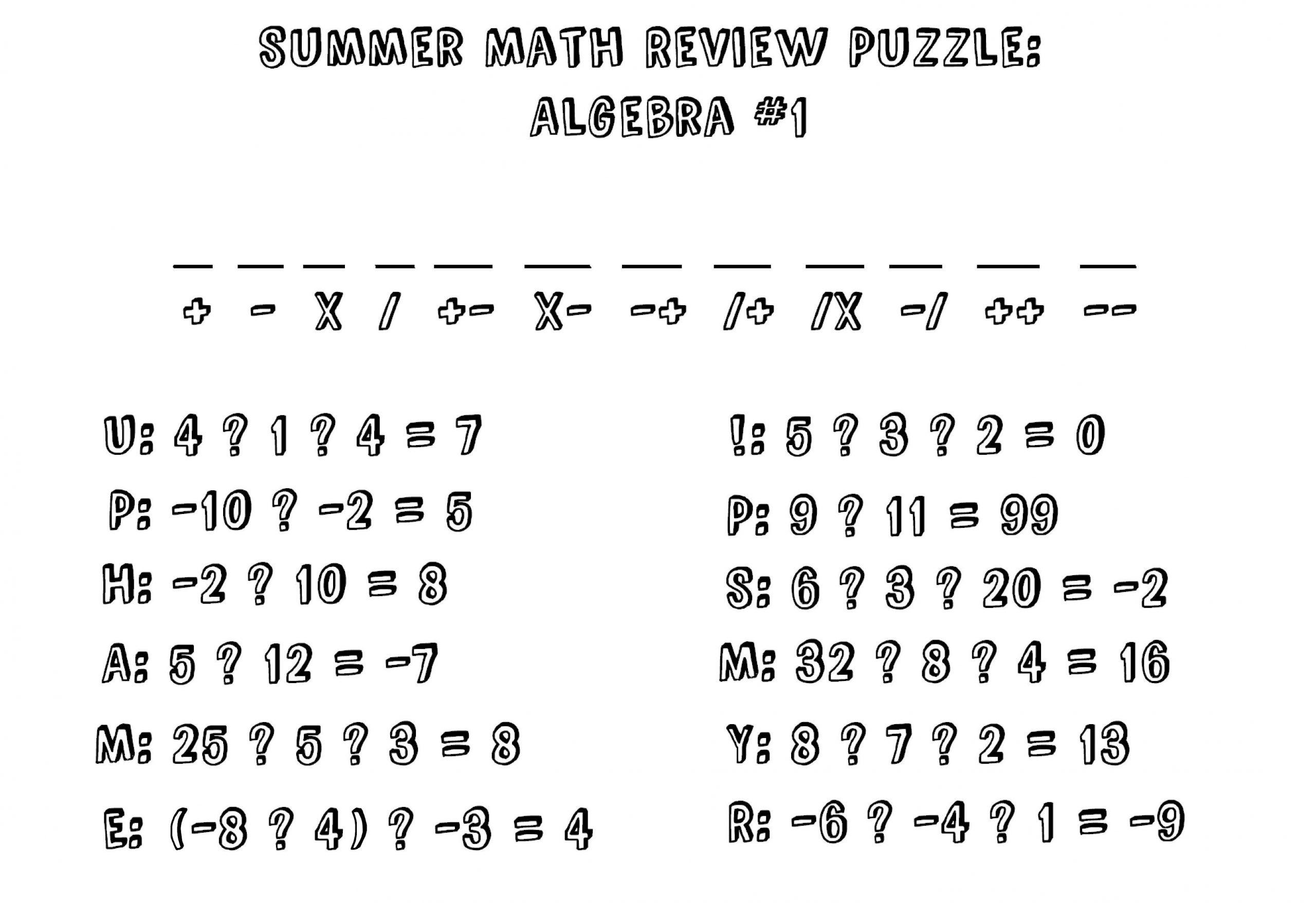 Algebra Free Worksheets Grade 7