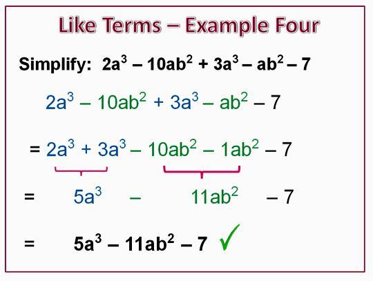 Algebra Grouping Like Terms Worksheets