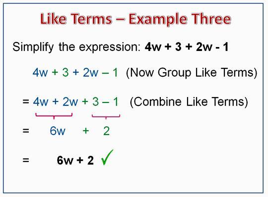 Algebra Like Terms Worksheet Pdf