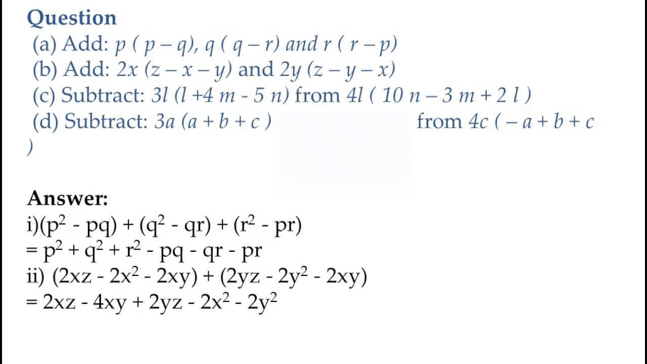 Algebra Worksheets 8th Grade