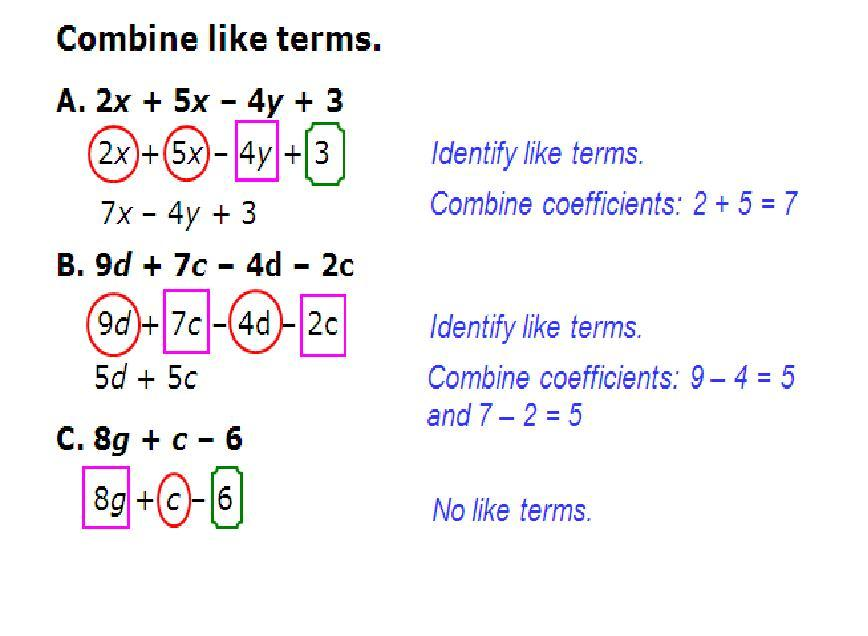 Algebra Worksheets Collecting Like Terms