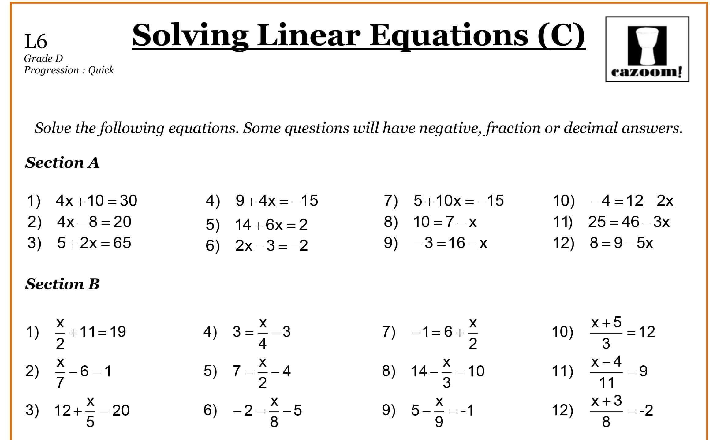 Algebra Worksheets For Grade 6 Pdf