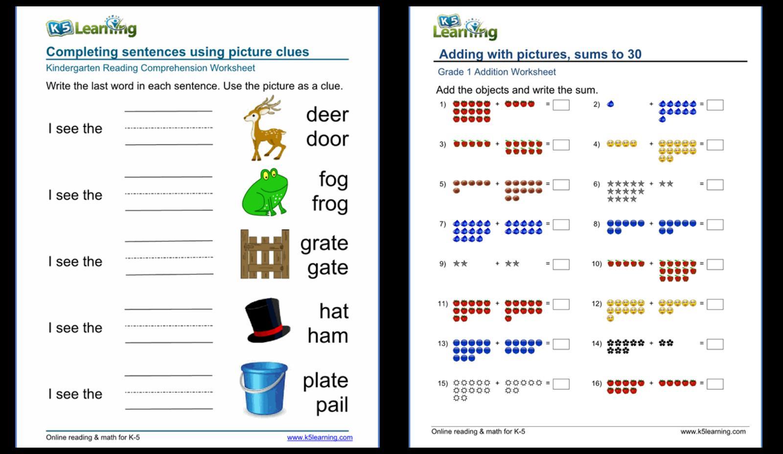 Algebra Worksheets K5 Learning 6
