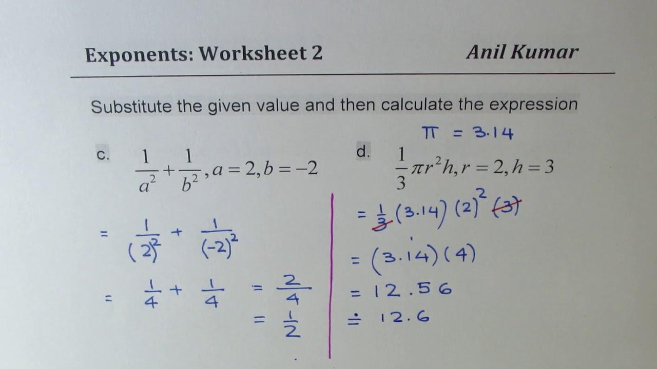 College Algebra Exponents Worksheets