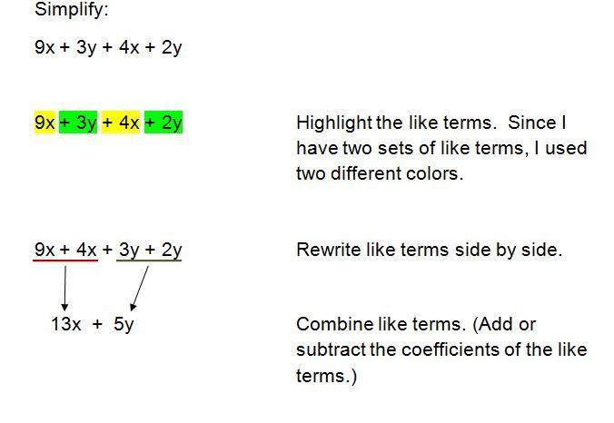 Combining Like Terms In Algebra Worksheets