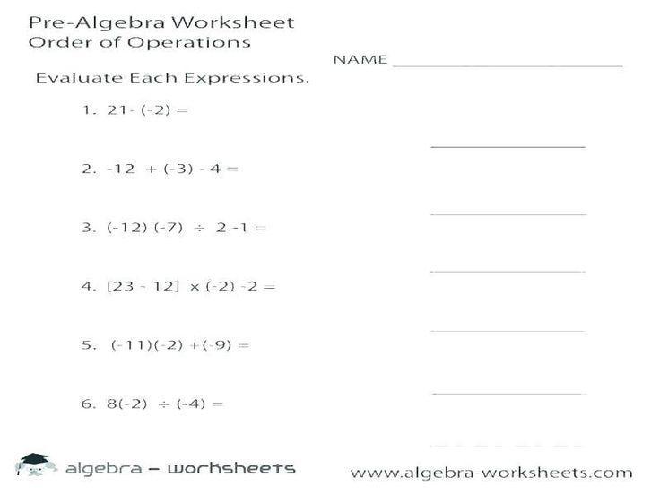 Math Worksheets Grade 8 Algebra