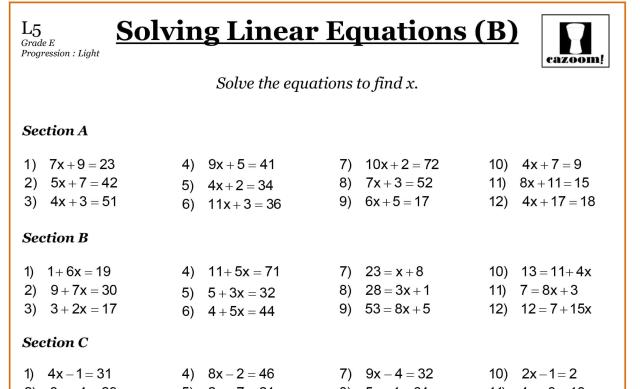 Algebra Math Worksheets