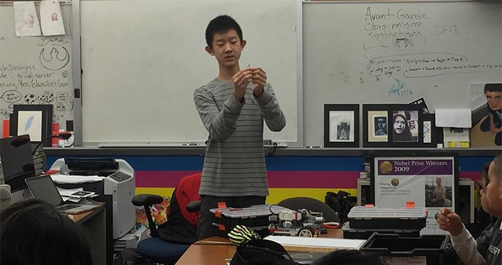 Edward Li Teaches Lego Robotics Class at BCA