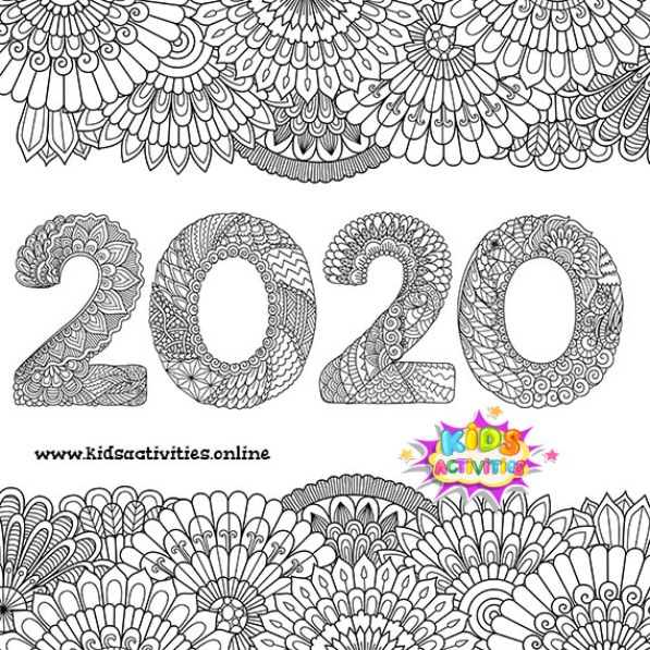 New year 2020 doodle hipster greeting card