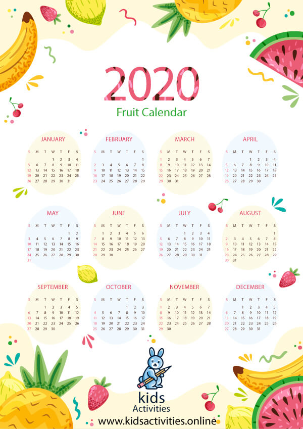 Free Colorful Calendar 2020 Printable - cute colorful calendar 2020 printable
