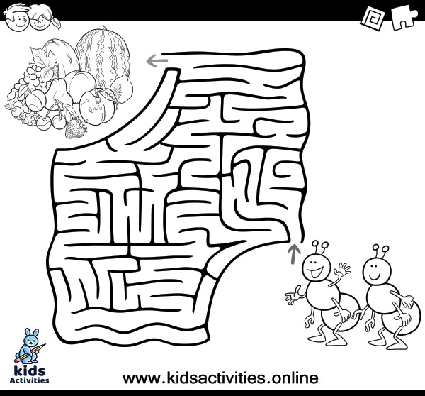 Coloring pages Simple maze for kids