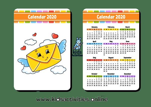 free cute printable calendar 2020 pdf