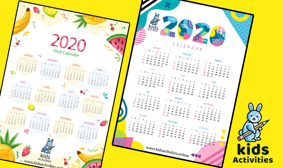 cute colorful calendar 2020 printabler 2020 Printable