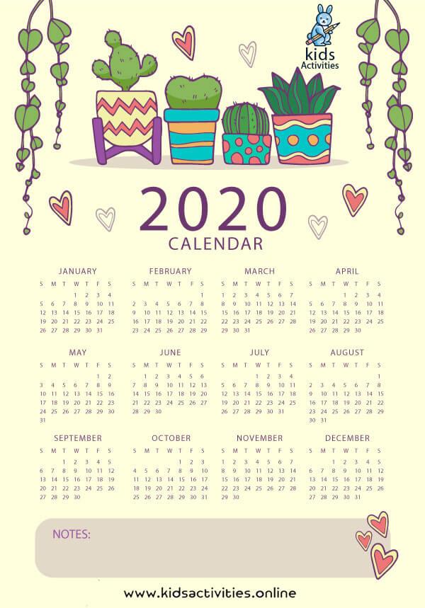 colorful desk calendar 2020
