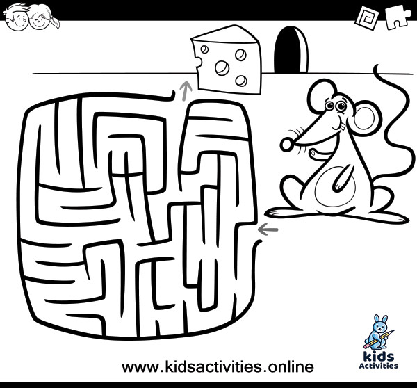 Maze activity coloring book for kids