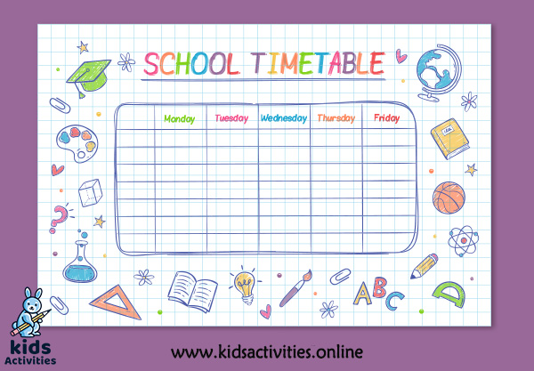 personal timetable template