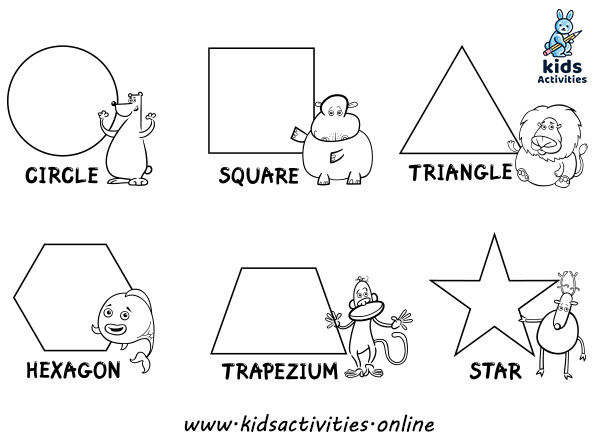 Shapes for kindergarten coloring pages