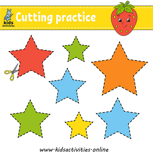 Cutting practice for kids. education developing worksheet.