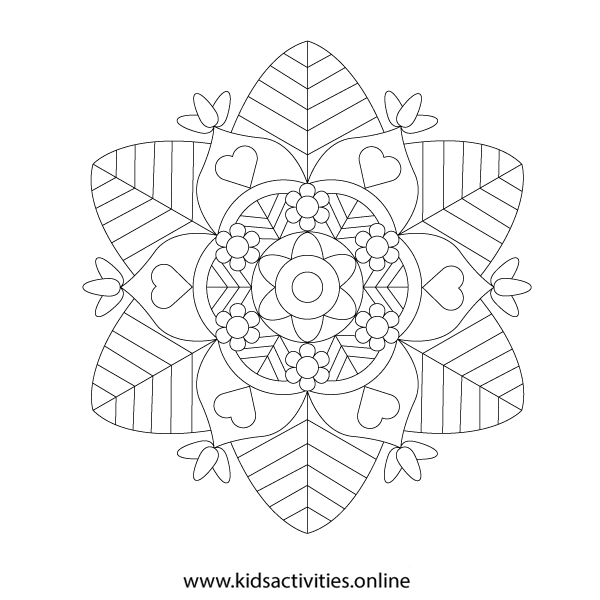 Coloring page for adults print Spring mandala