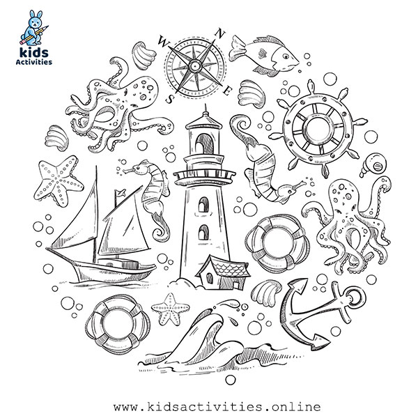 Sea life marine collection in doodle