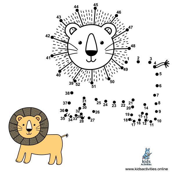 Connect number lion color sheet