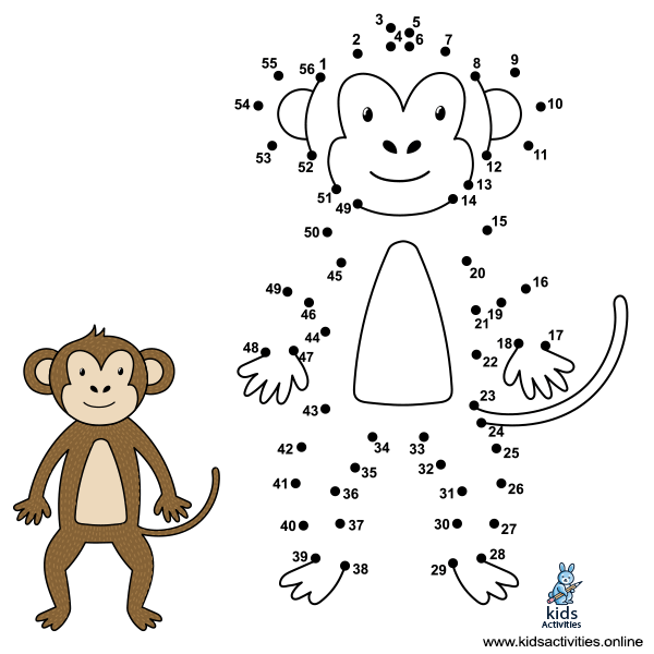 dot by number to draw the cute monkey