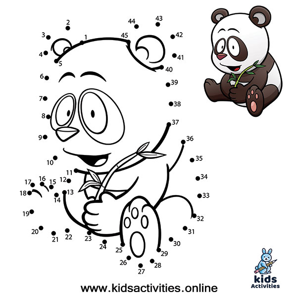 Animal Dot To Dots Printables panda