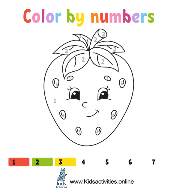 Color cute cartoon strawberry by numbers.