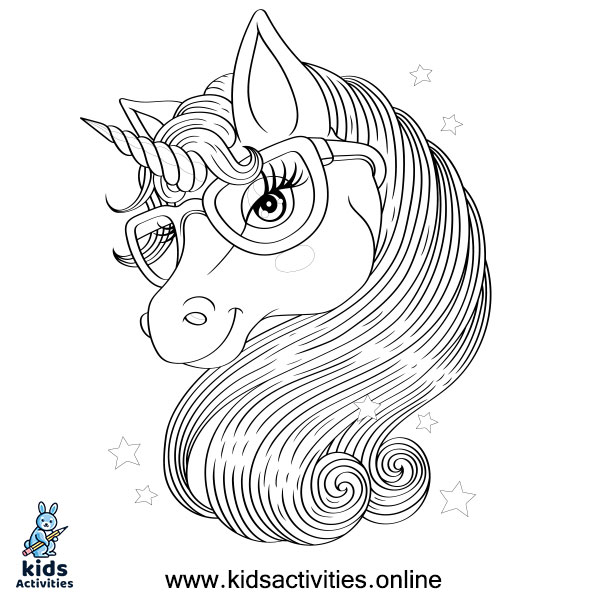 Free !- Unicorn Coloring Page