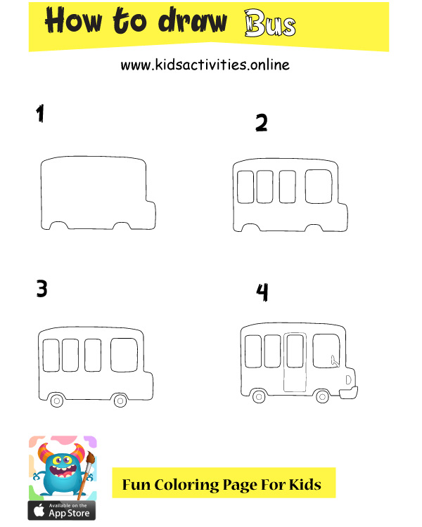 Drawing bus step by step for kids