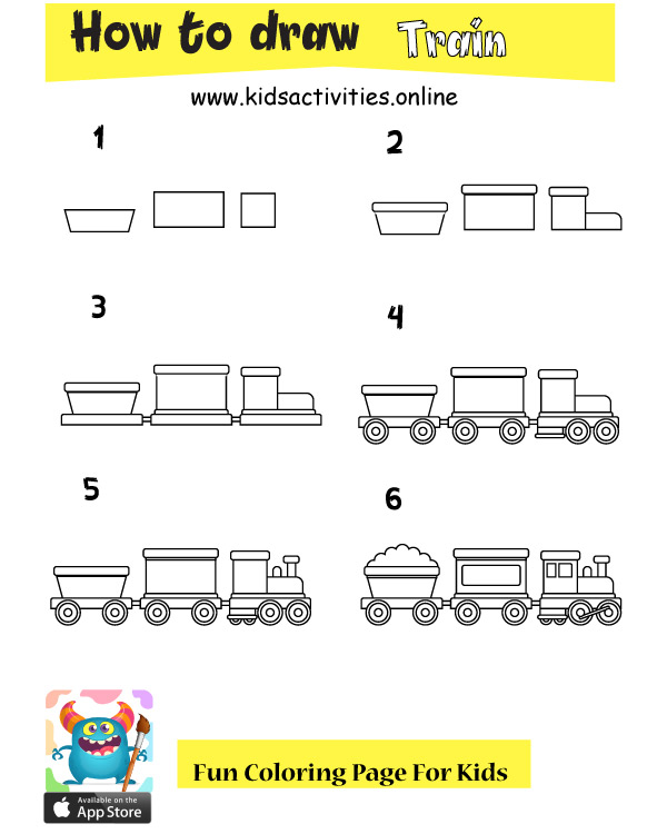 How to draw a train easy steps for kids