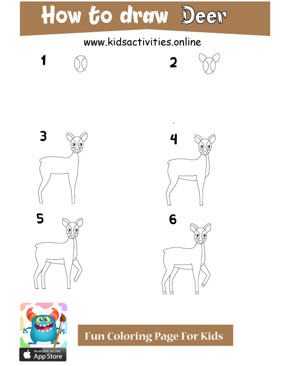 Drawing deer easily - how to draw cute animals