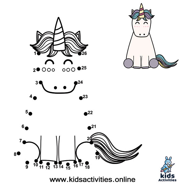 Animal Dot To Dots Printables unicorn