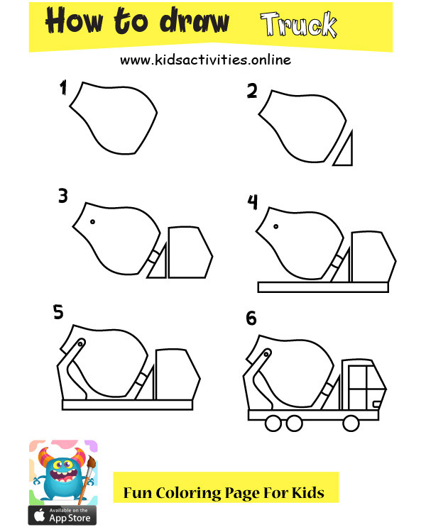 How to draw a truck for kids