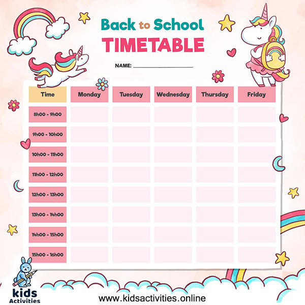 Free printable planner school timetable