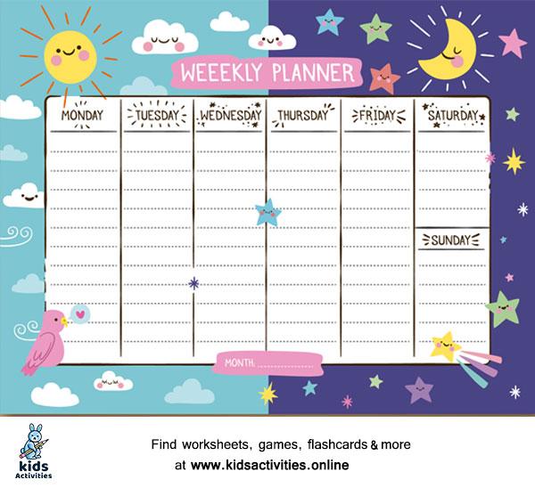 Weekly schedule template printable