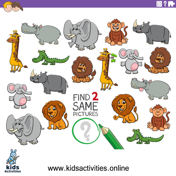 Find Two Same Pictures Educational Game