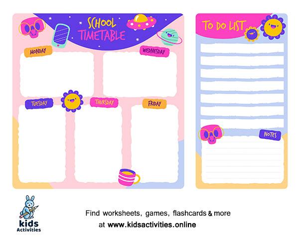 School timetable schedule template