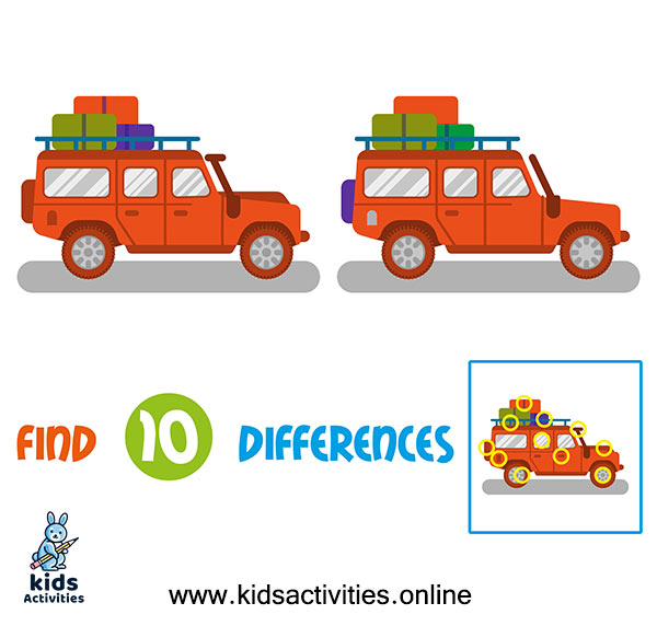 Printable spot the 10 differences between the two pictures printable