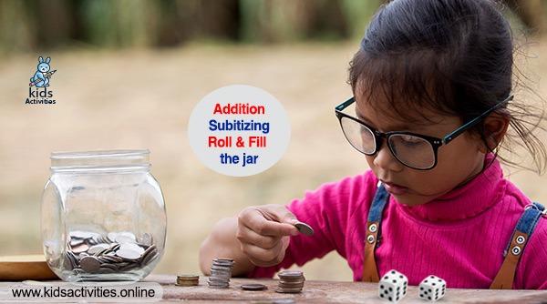 Addition, Subitizing – Roll & Fill the jar - STEM activities for kids